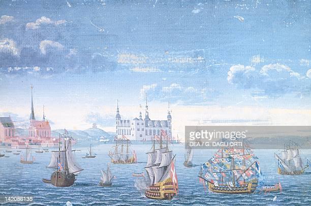 View of Helsingor and Kronborg Castle Denmark 18th Century Gouache