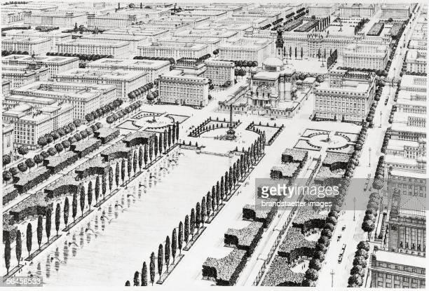 View of henceforth 22nd Viennese district Drawing of the survey Die Grossstadt Anton Schroll Vienna 1911 [Otto Wagner Blick auf das Luftzentrum des...