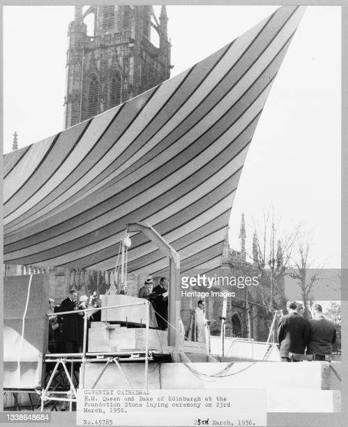 View of Her Majesty the Queen and the Duke of Edinburgh at the foundation stone laying ceremony of Coventry Cathedral. Following the bombing of...
