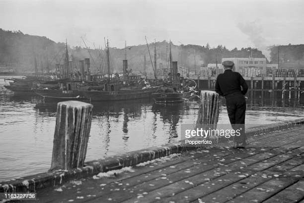 View of herring drifter fishing boats tied up in the harbour at Stornoway on the Isle of Lewis in the Outer Hebrides Scotland during World War II on...