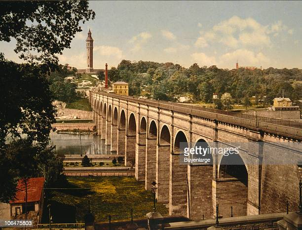 A view of High Bridge in New York City which spans the Harlem River and bridges the gap between Manhattan and the Bronx 1900