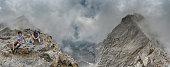 View of highest peak of Mount Olympus called Mytikas Eroded rocks, Greece