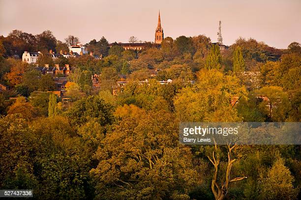 View of Highgate village from Hampstead Heath on a late autumn afternoon Hampstead Heath comprises 792 acres of varied irregular groupings of...