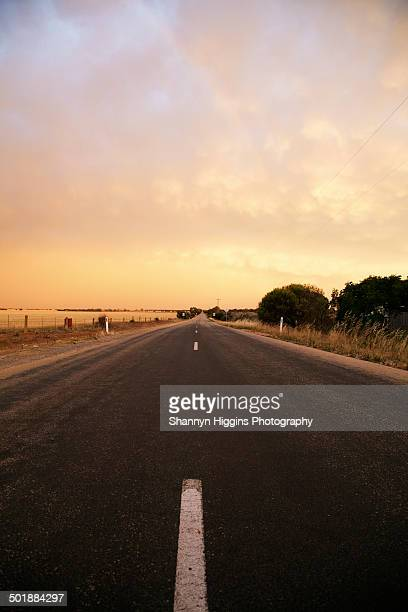View of highway and storm clouds, Ultima, Victoria, Australia