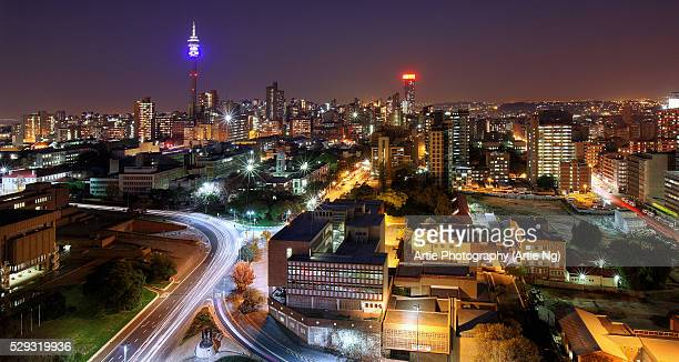 view of hillbrow tower & city skyline, johannesburg, gauteng province, south africa - 1971 stock pictures, royalty-free photos & images