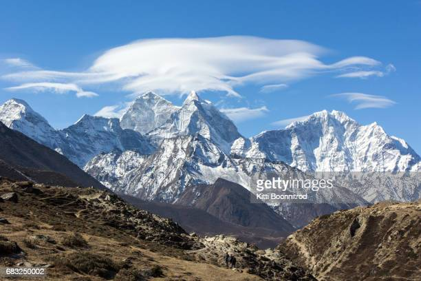 View of Himalayan range from Periche village, Nepal