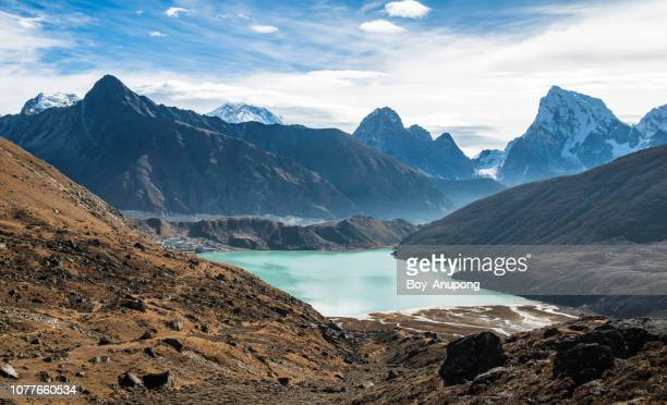 View of Himalayas mountains range with Gokyo lake view from the way to Renjo La pass.
