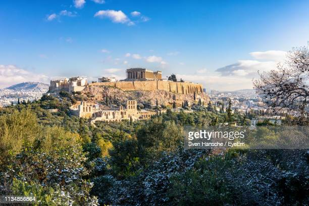 view of historic building against sky - athens greece stock pictures, royalty-free photos & images