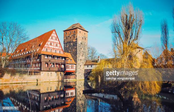 View of Historic Buildings on Pegnitz Riverside in Nuremberg City, Germany