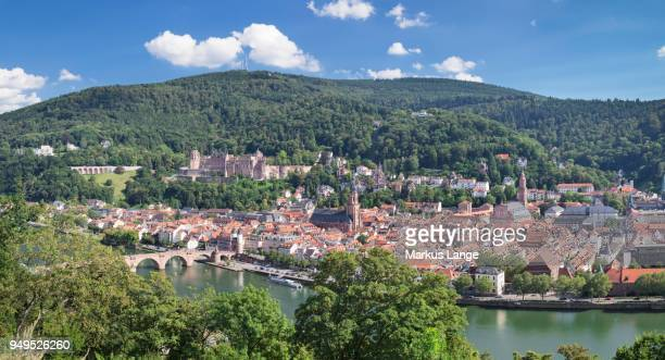 View of historic centre with Karl Theodor Bridge and castle from the Philosophers Walk in Heidelberg, Baden-Wuerttemberg, Germany