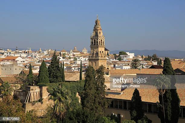 View of historic city center and belfry bell tower Toree del Laminar Grand Mosque Cordoba Spain