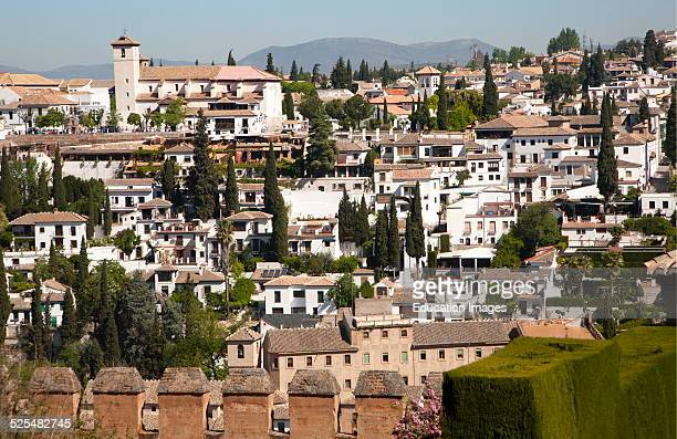 View of historic Moorish buildings in the Albaicin district of Granada Spain seen from the Alhambra