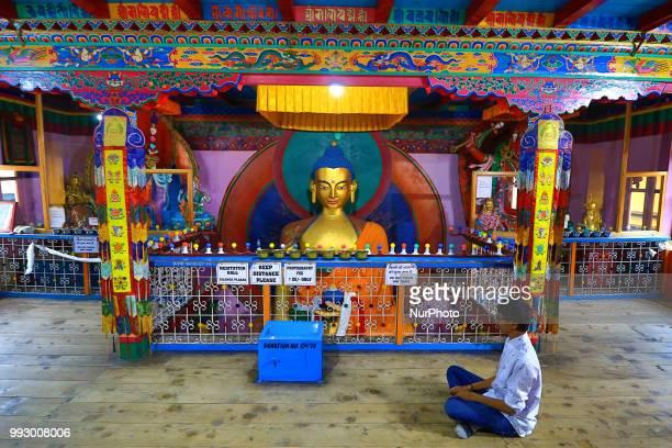 View of historical Buddhist temple 'Himalayan Nyinmapa Buddhist Monastery ' in Manali town , Himachal Pradesh , India on 6th July,2018. Himalayan...
