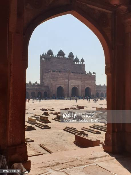 view of historical building against clear sky - fatehpur sikri stock pictures, royalty-free photos & images