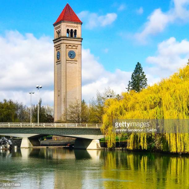 view of historical building against cloudy sky - spokane stock pictures, royalty-free photos & images