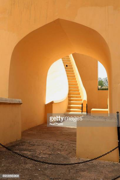 View of historical Jantar Mantar monument in Jaipur , Rajasthan ,India ,14 June,2017. Jantar Mantra monument is a collection of nineteen...