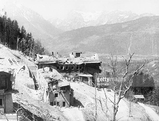 View of Hitler's Berchtesgaden home after it was blasted by Allied bombs
