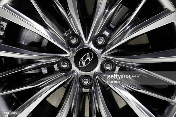 View of HMC new sedan Grandeur IG wheel part during an Unveiling event in Gimpo South Korea The sedan equipped with 2400cc or 3000cc gasoline engine...