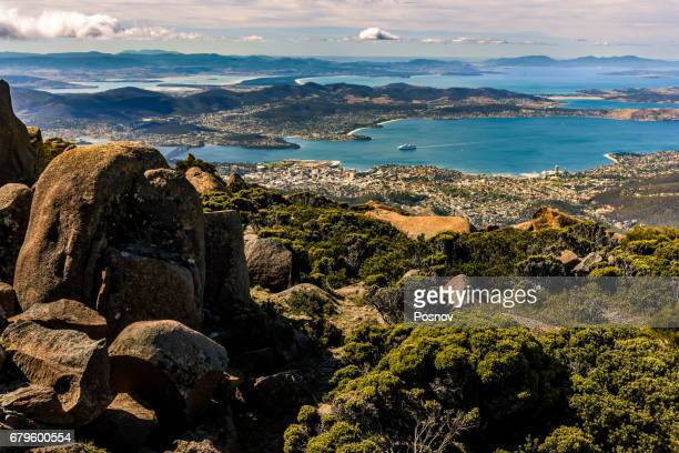 view of hobart from the top of mt wellington, tasmania - hobart tasmania stock pictures, royalty-free photos & images