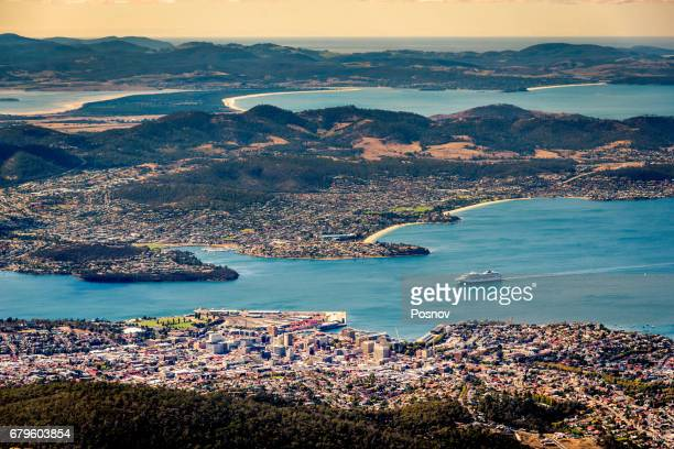 view of hobart from the top of mt wellington, tasmania - image stock pictures, royalty-free photos & images
