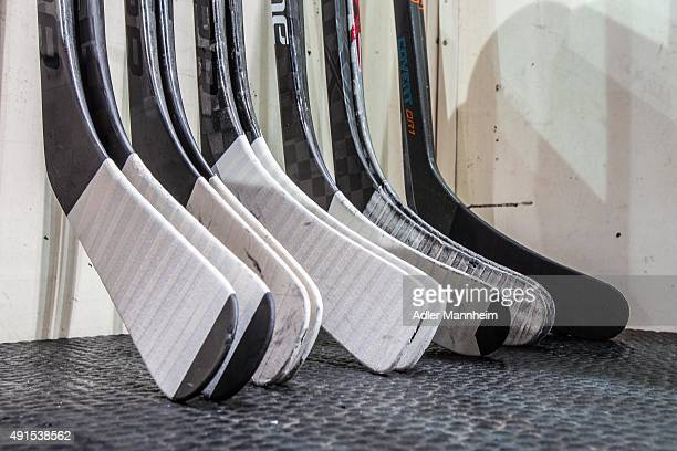View of hockey equipment prior to the Champions Hockey League round of thirty-two game between Adler Mannheim and Espoo Blues at SAP Arena on October...