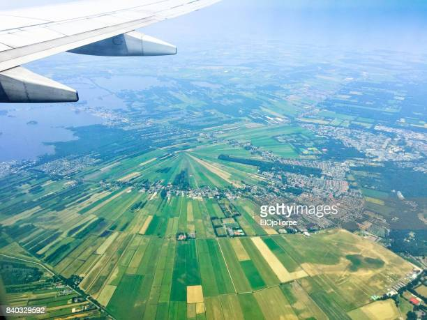 View of Holland from airplane window, near Amsterdam