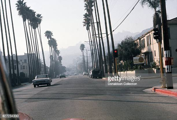 A view of Hollywood Boulevard looking west in December 1963 in Los Angeles California