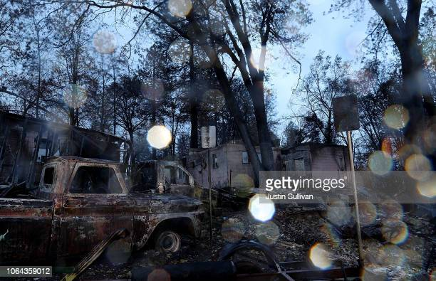 A view of home destroyed by the Camp Fire on November 22 2018 in Paradise California Fueled by high winds and low humidity the Camp Fire ripped...