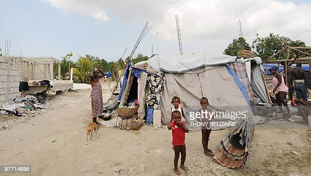 A view of homeless family March 14 2010 in a camp in LeoganeHaiti The impending rainy season was going to bring further misery to the 13 million...