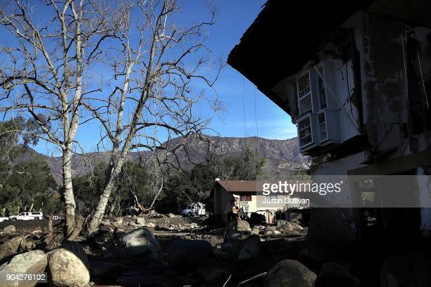 A view of homes that were destroyed by a mudslide on January 12 2018 in Montecito California 17 people have died and hundreds of homes have been...