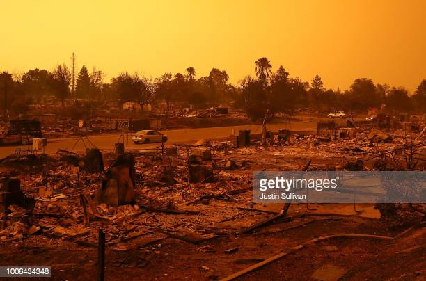 A view of homes that were destroyed by the Carr Fire on July 27 2018 in Redding California A Redding firefighter and bulldozer operator were killed...