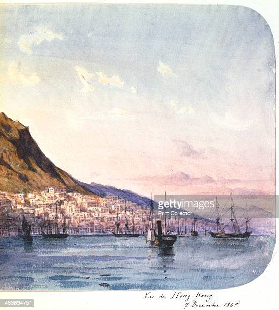 'View of Hong Kong 7 December 1865' View showing paddle steamer and sailing vessels in the harbour and the city nestling below mountains Hong Kong...