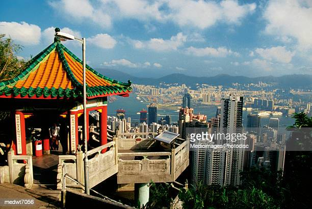 view of hong kong from victoria peak, china - travel14 stock pictures, royalty-free photos & images