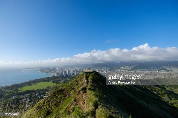 view of honolulu from diamond head - diamond head stock photos and pictures