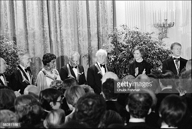 View of honorees from left to right Fred Astaire Marian Anderson George Balanchine and Arthur Rubinstein during the Kennedy Center Honors at the...