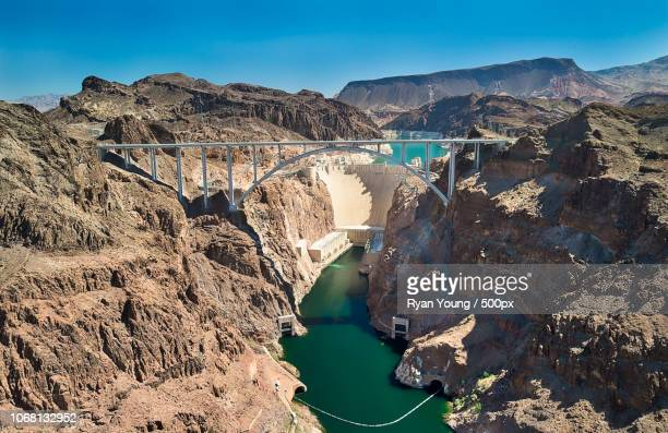 view of hoover dam, arizona, usa - hoover dam stock photos and pictures