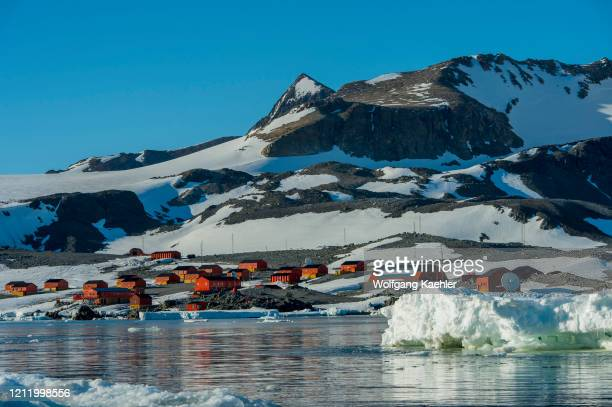 View of Hope Bay on the tip of the Antarctic Peninsula from the Antarctic Sound with the Argentine Station Esperanza.
