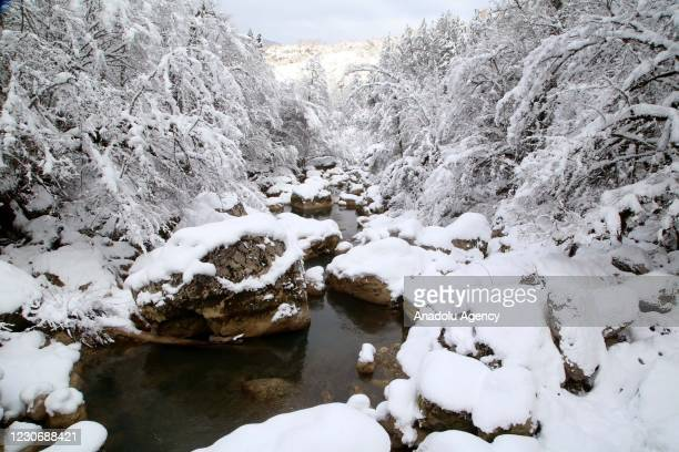 View of Horma Canyon after a snowfall in Pinarbasi district of Kastamonu, Turkey on January 19, 2021.