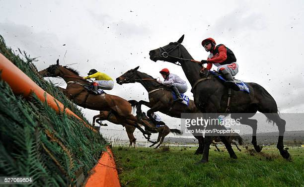 View of horses and riders clearing a fence in the Royal SunAlliance Chase during the 2008 Cheltenham Festival in Cheltenham England on 13th March...