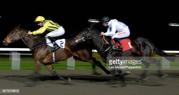 View of horses and riders competing in the BetVictorcom Maiden Fillies' Stakes flat race during a race meeting under floodlights at Kempton Park...