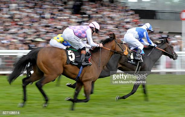 View of horses and riders competing in the Hardwicke Stakes race during the 2010 Royal Ascot race meeting at Ascot Racecourse Ascot England on 19th...