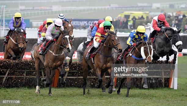 View of horses and riders competing in the Ladbrokes World Hurdle during the Cheltenham National Hunt Festival at Cheltenham Racecourse England on...