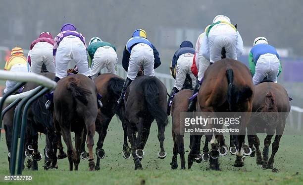 View of horses and riders competing in the RSA Chase during the Cheltenham National Hunt Festival at Cheltenham Racecourse England on 16th March 2011...