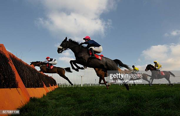View of horses and riders competing in the Stanjamesukcom Juvenile Novices' Hurdle during the 2008 Stan James Christmas Festival at Kempton Park...