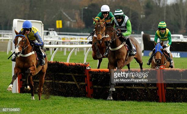 View of horses and riders competing in the William Hill Christmas Hurdle during the Boxing Day meeting at Kempton Park racecourse near London on 26th...