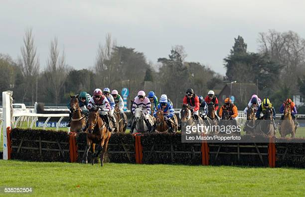 View of horses and riders competing in the Williamhillcom Sports Betting Handicap Hurdle during the 2009 Christmas Festival at Kempton Park...
