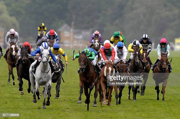 View of horses and riders racing to the finish in the Queen Alexandra Stakes race during the 2010 Royal Ascot race meeting at Ascot Racecourse Ascot...