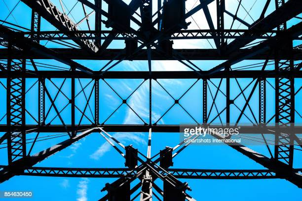 View of Hot Metal Bridge against clear blue sky in Pittsburgh, Pennsylvania, USA