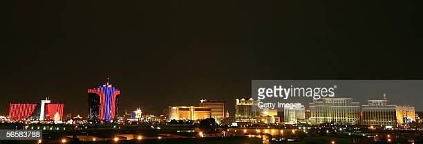 A view of hotelcasinos on the Las Vegas Strip is seen from the parking garage of the Seamless Adult Ultra Lounge during the club's grand opening...