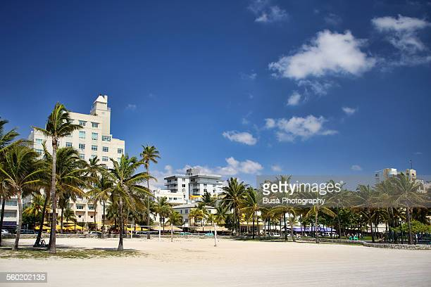View of hotels of Ocean Drive from the beach